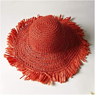 SHENTIANWEI Foldable Ladies Beach hat Summer Straw hat Hook Visor Casual Wild Travel hat (Color : Orange)