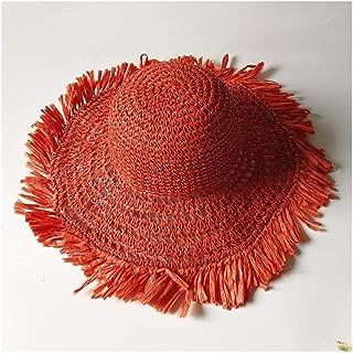 Foldable Ladies Beach hat Summer Straw hat Hook Visor Casual Wild Travel hat` TuanTuan (Color : Orange)