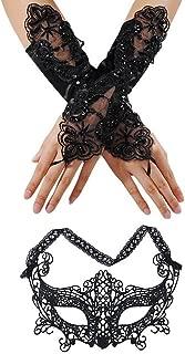 Masquerade Mask Women Wedding Gloves Face Eye Lace Phoenix Mask Fingerless Gothic Gloves …