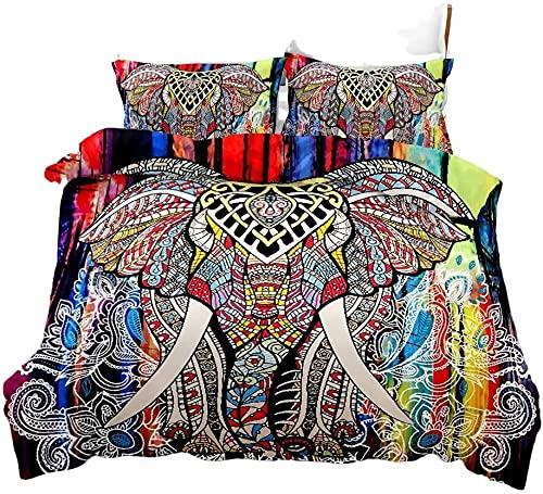 AmenSixye Set Biancheria da Letto Set Copripiumino Stile Bohemien Datura Fiore Modello Elefante...