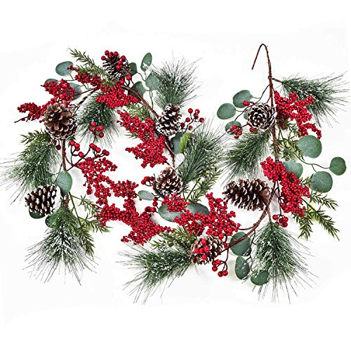 Lvydec Christmas Pine Garland Decoration, 6ft Eucalyptus Christmas Garland with Red Berry Pine Cones Eucalyptus Leaves and Pine Needle for Holiday Mantel Fireplace Table Centerpiece