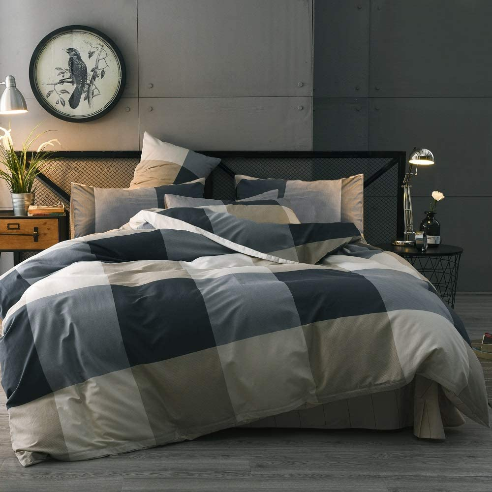 Courier shipping free shipping Cotton Grid Plaid Duvet Cover Modern Reversible Set Checke Regular store Queen