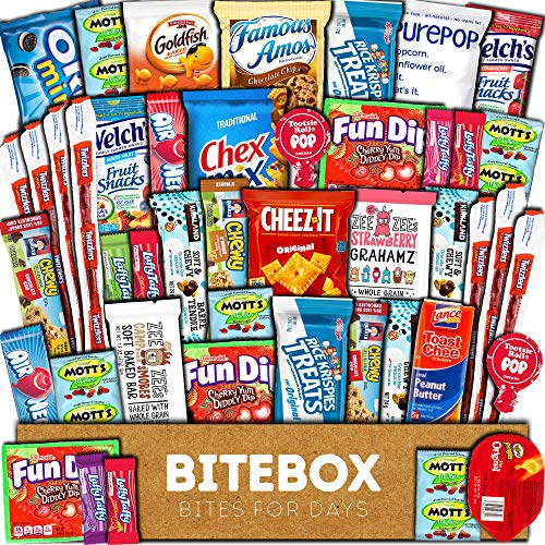 BiteBox Care Package (45 Count) Snacks Food Cookies Chocolate Bar Chips Candy Ultimate Variety Gift Box Pack Assortment Basket Bundle Mix Bulk Sampler Treat College Students Final Exam Office Spring