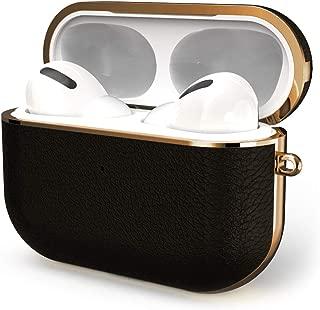 GAZE AirPods Pro 充電ケースカバー 【2020最新版】 フルグレインレザーエアーポッズプロスタイリッシュ保護カバー 分離式 キズ防止 耐衝撃 軽量 AirPods Pro Leather Case【前のLEDが見える】 (黒い)