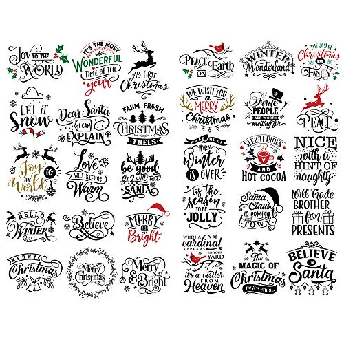 Seasonstorm Black Christmas Blessing Words Decoration Album Planner Stickers Scrapbooking Diary Sticky Paper Flakes (PK686)