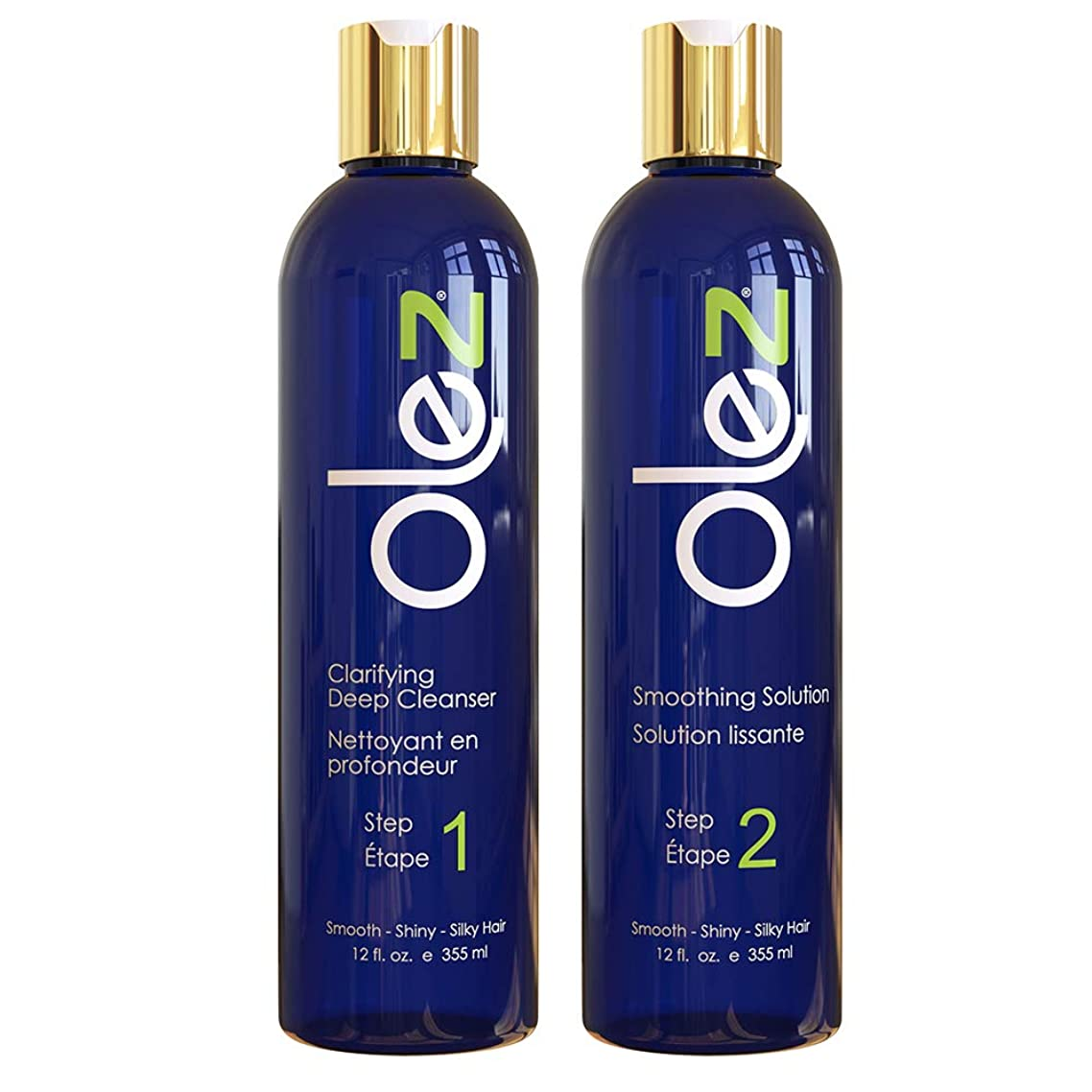 OLEZ Smoothing Keratin Hair Treatment Kit (8 Oz + Spray) 2-Step Formaldehyde Free Smoothing Hair Cleanser - Helps Keep Smooth, Shiny, Silky Hair For All Hair Types