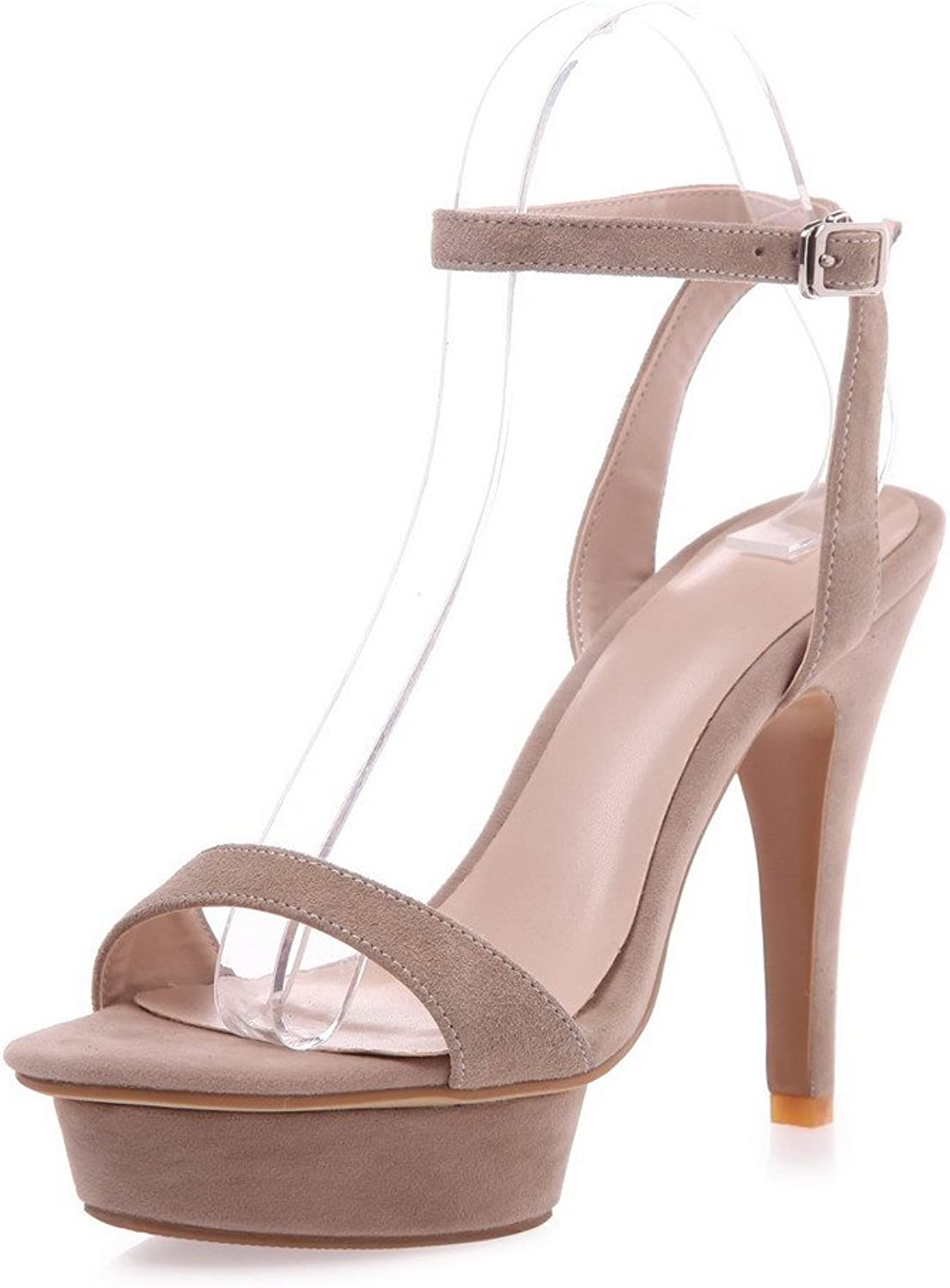 AmoonyFashion Women's Frosted Buckle Open-Toe High-Heels Solid Sandals