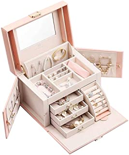 Vlando Mirrored Jewelry Box Organizer for Girls Women Vintage Gift Case - Faux Leather Jewelries Storage Display Holder, Pink