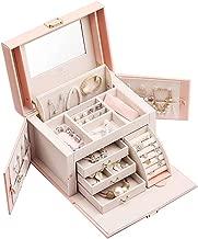 Vlando Mirrored Jewelry Box Organizer for Girls Women Vintage Gift Case - Faux Leather Jewelries Storage Display Holder, Pink