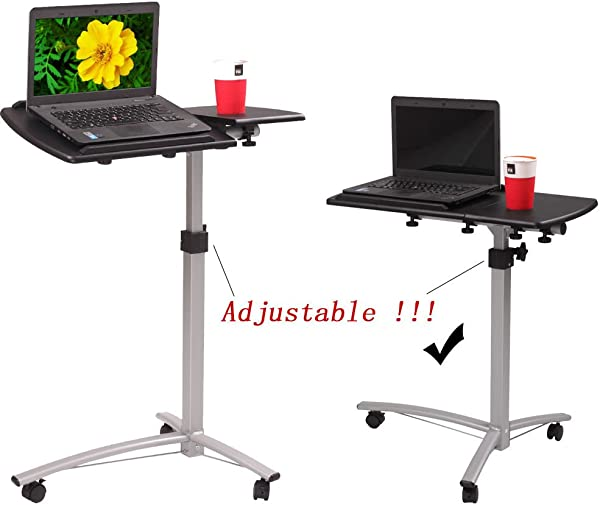 Aromdeeshopping New Table Stand Portable Caster Cart Bed Side Laptop Rolling Desk Adjustable Tilt
