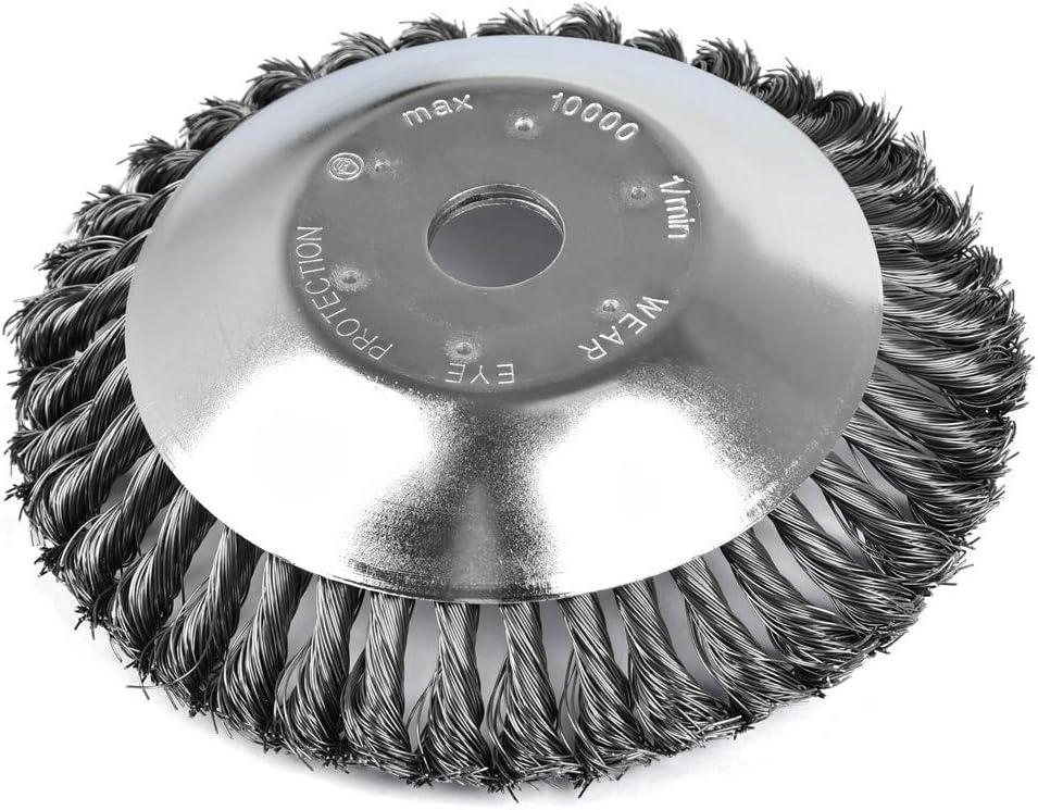 WENTS – Cepillo antimalas hierbas para desbrozadora, cepillo redondo, para desbrozadora, 200 x 25,4 mm, alambre de acero, cabezal de corte profesional para malas hierbas (8 pulgadas)