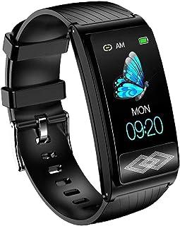 Gymqian Smart Watch For Men Mujeres Fitness Tracker Ip67 Pantalla Táctil Impermeable Bluetooth Reloj Inteligente con Ritmo Cardíaco/Monitor de Sueño Podómetro-Rosa Exquisito/Neg