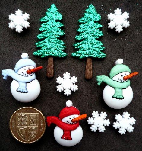 Schneemänner Bäume Weihnachten Motiv