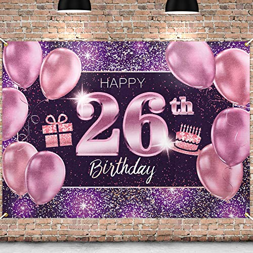 PAKBOOM Happy 26th Birthday Banner Backdrop - 26 Birthday Party Decorations Supplies for Women Her - Pink Purple Gold 4 x 6ft