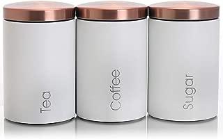 Megachef MC-311W Essential Kitchen Storage 3 Piece Sugar, Coffee and Tea Canister Set in Matte White, 3pc,