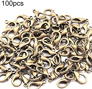 Necklaces 100 PCS 12mm DIY Jewelry Accessories High-quality Alloy Lobster Claw Necklaces (Color : Bronze)