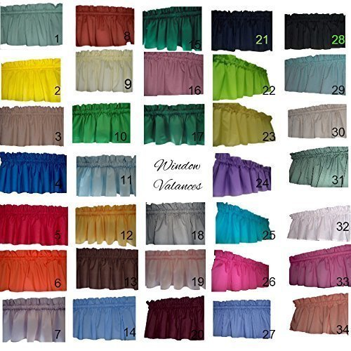 """Solid valances curtains Navy Blue, Lime green, Light Yellow, Violet purple, Turquoise, Hot Pink, Slate Blue, Black, Mint, Beige, Valance Curtain. 58"""" wide. kids classroom, daycare, school,"""