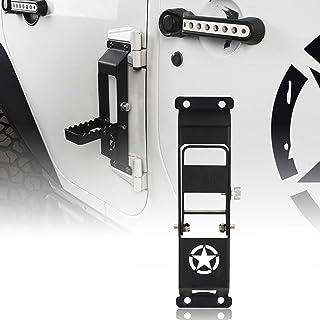 4 Pack, Plain Black Easy Access to Car Rooftop for 2007-2020 Jeep Wrangler JK JKU JL JLU Rubicon Sahara X Sport RT-TCZ Door Hinge Step Foot Peg Folding Foot Pedal