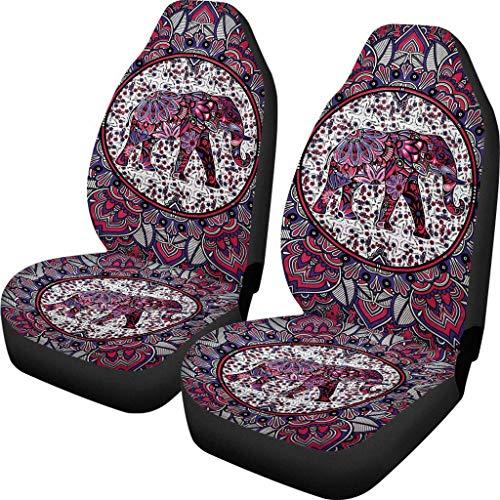 BIGCARJOB Mandala Style Car Seat Cover Front Seat Protector Saddle Blanket Set of 2 Indian Elephant Print Seat Covers,fit Most Car SUV Van Truck Sedan