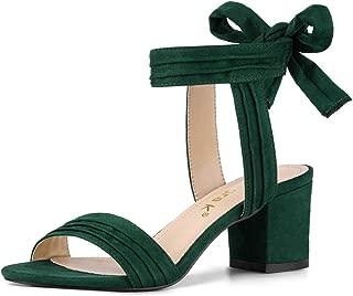 Women's Open Toe Ankle Tie Back Block Heel Sandals