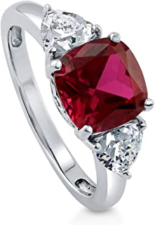 BERRICLE Rhodium Plated Sterling Silver Simulated Ruby Cushion Cut Cubic Zirconia CZ 3-Stone Anniversary Engagement Ring 3.84 CTW