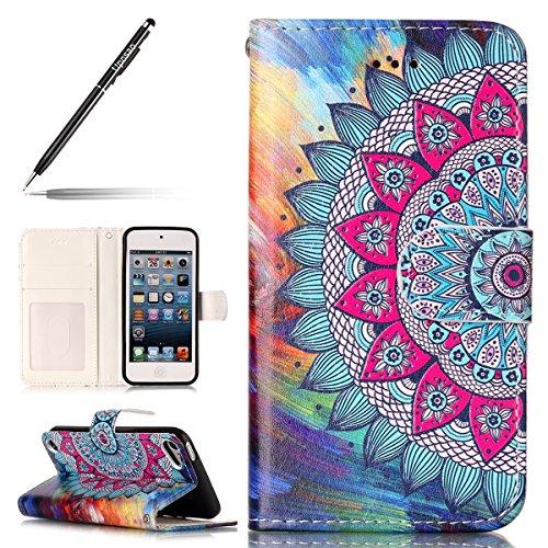 Uposao Coque iPod Touch 5/6,Housse iPod Touch 5/6, Pochette Portefeuille Cuir Coque de Protection Housse Flip Cover Case Coque à Rabat Magnétique Beau Rétro Motif 3D Coque pour iPod Touch 5/6,Mandala