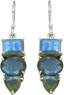 YoTreasure Labradorite Earrings Solid 925 Sterling Silver Blue Fire Gemstone Jewelry