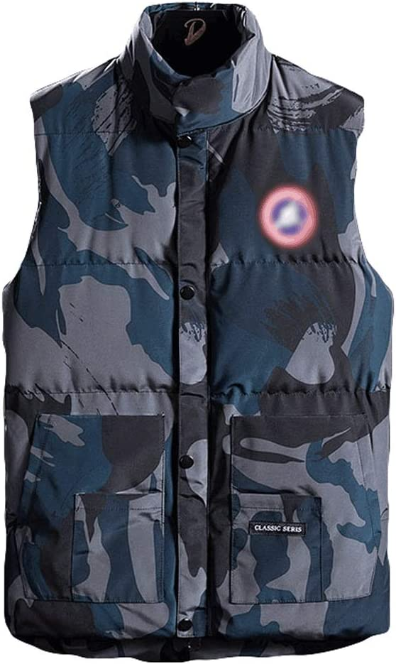 Sleeveless Vest Stand-up Collar Vest Men's Winter Warm and Windproof Sleeveless Jacket with Large Pockets and Zipper Closure Casual Vest Fashion Vest (Color : Blue, Size : Medium)