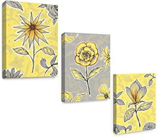SUMGAR Yellow Wall Art Bedroom 3 Piece Grey Flower Pictures Kitchen Gray Floral Canvas Paintings Living Room Framed Artwork Set Bathroom Decor,12x16 inch