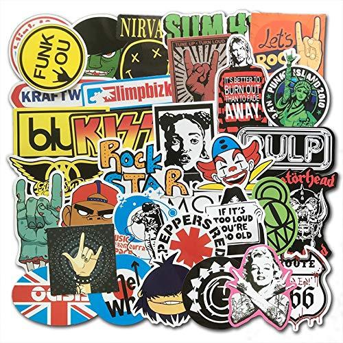 QINGMI Lot Rock Sticker Punk Cool Music Retro Band Graffiti Jdm Stickers To Diy Guitar Motorcycle Laptop Luggage Skateboard Car 100Pcs/