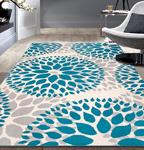Modern Floral Circles Design Area Rugs 7'6' X 9' 5' Blue
