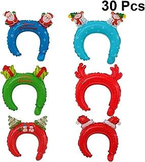 Toyvian 30pcs Christmas Inflatable Balloon Headband Hats Hair Hoops Xmas Holiday Dress Up Costumes Accessories