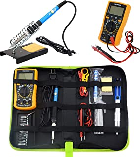 ONIPU Soldering Iron Kit, 110V 60W Adjustable Temperature Welding Tool, Digital Multimeter, 5pcs Soldering Iron Tips,Desoldering Pump, Solder Wick, Solder Wire, Wire Stripper Cutter, Stand, Tool Case