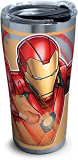 Tervis 1319358 Marvel - Iron Man Iconic Insulated Travel Tumbler with Lid, 20oz - Stainless Steel, Silver