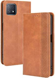 Case for OPPO A73 5G,Retro Flip Wallet Phone Case and Magnetic Closure Suitable for OPPO A73 5G-Brown