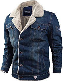 Plus Size Men's Casual Big Size Autumn Winter Long Sleeve Plush Denim Jacket Warm Coat Outwear