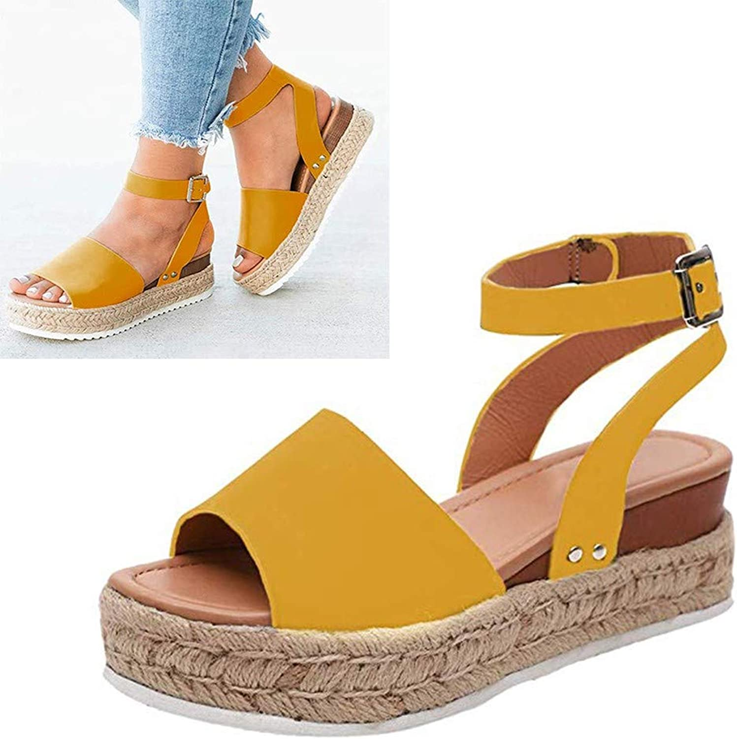 Summer Women Retro Wedges Sandals Peep Toe Buckle Ankle Strappy for Ladies Fashion Flat Lace Up 5 cm High Heels Leather Slingback Platform shoes Casual Comfy Espadrilles(Yellow),Yellow,43
