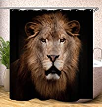 JMHX Tiger Lion Bath Curtains Waterproof Animals Shower Curtains for Bathroom Bathtub Large Wide Bathing Cover with Hooks