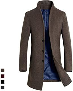 AKIMPE Mens Autumn Winter Leather Clothing Rest Collar Zipper Coat