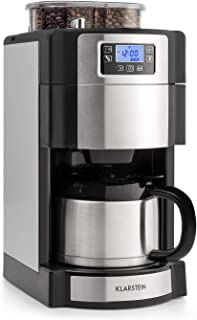 Klarstein Aromatica Nuovo Termo • Coffee Maker • Built-in Activated Carbon Filter • Five-stage Grinder • Drip Protection • Three Aroma Levels: Light, Medium, Strong • 24-hour Timer • 10 Cups • Silver
