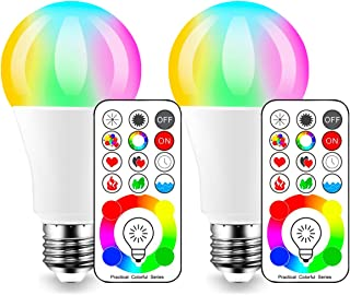 LED Color Changing Light Bulb, 70 Watt Equivalent with Remote Control RGBW - 120 Different Color Choices – RGB Daylight and White Dimmable – Timing Function - A19 E26 Edison Screw (2 Pack)