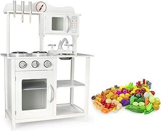 comprar comparacion Leomark Cocina Madera Infantil de Juguete - Classic White - Accesorios: reloj, microondas, verduras, frutas, Para Niños, E...