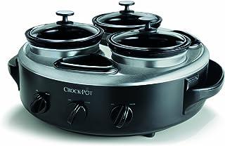 Crock-Pot SCRTD305-BS 1クォート トリプルディッパーフードウォーマー ポータブル蓋付き ステンレススチール