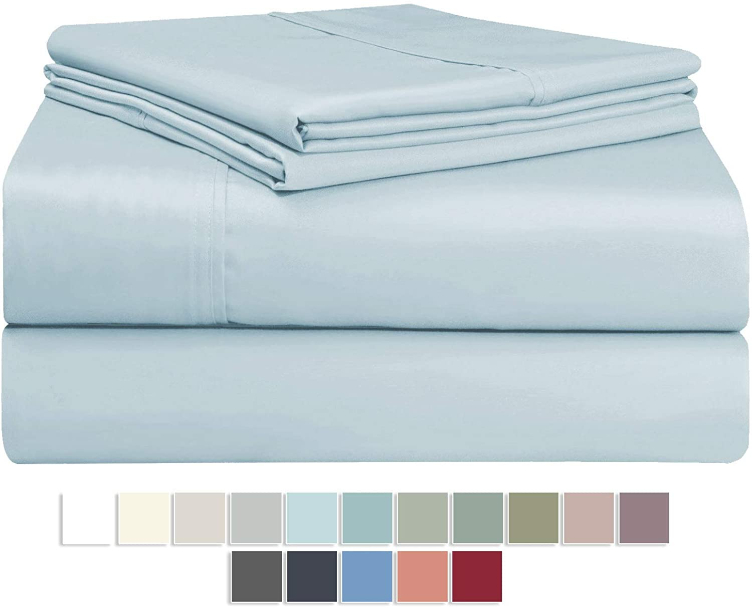 400 Thread Count Light bluee 6 Piece King Sheets Set Includes 2 Bonus Pillow Cases, 100% Long Staple Cotton Soft Sateen Weave Bed Sheets with Deep Pockets, Value Pack 6 pc Cotton Sheets King Baby bluee