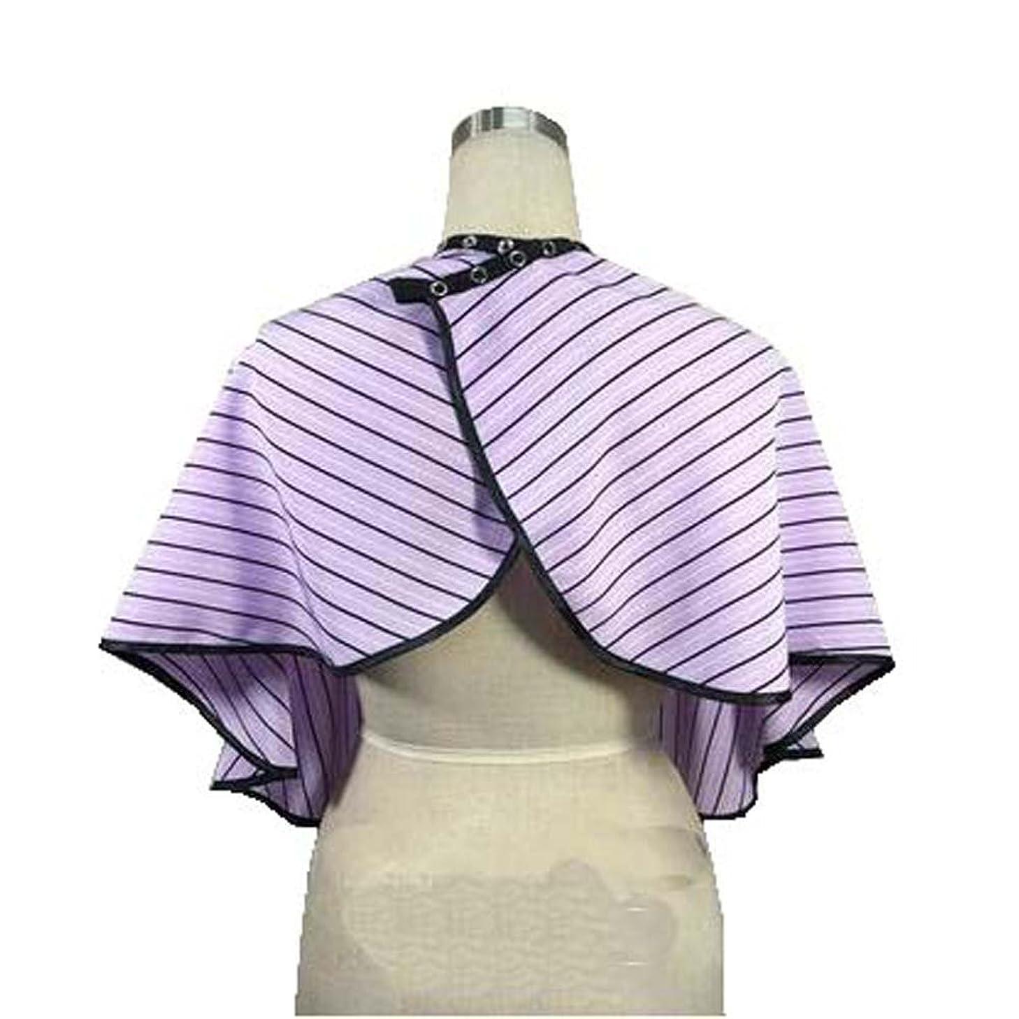 衝動ポゴスティックジャンプテンポ美容院のクライアントガウンのボタンの閉鎖、紫色の縞が付いている防水着色の染料の岬のスモック