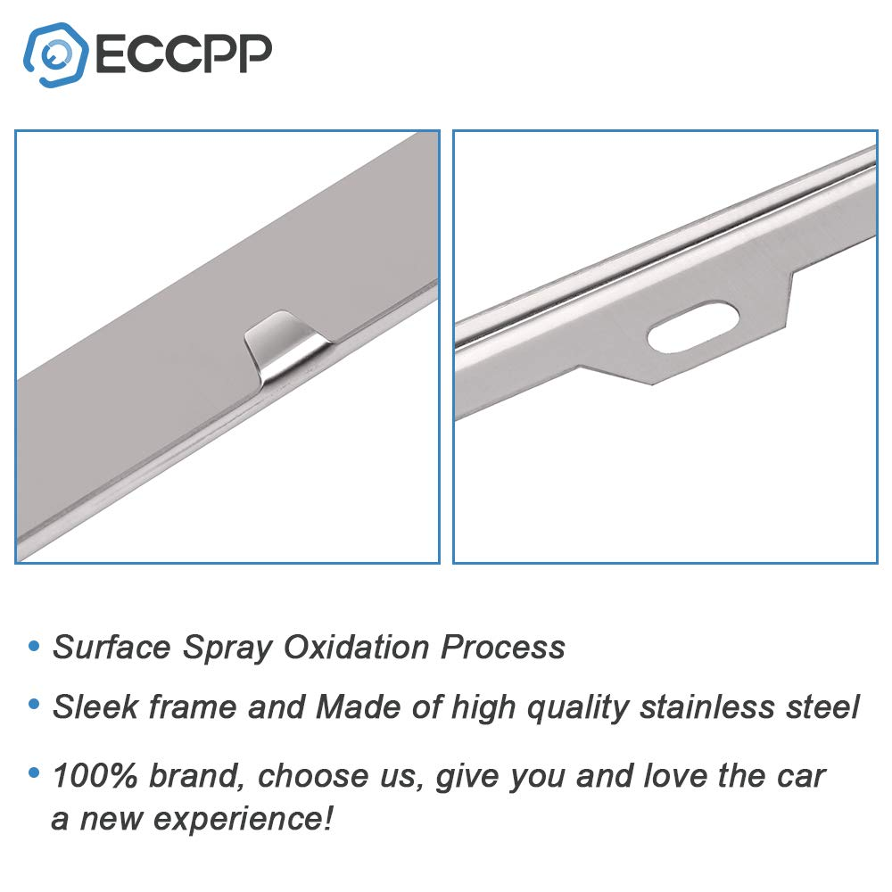 ECCPP License Plate Frame Stainless Steel License Plate Covers Protect Plates with Screws for US Vehicles
