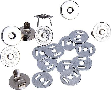 Akord Lot de 10 fermoirs magnétiques pour Sac, Argent, 18mm
