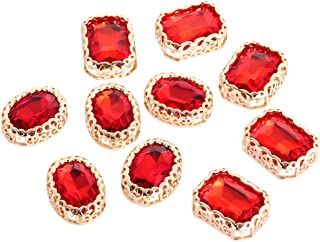 Vintage Rectangular Crystal Stone, Sew on Rhinestones Premium Clear Flatback Diamond,Sew Rhinestones for Crafts Clothes Garment, Clothing, Bags, Shoes, Dress, Wedding Party Decoration (Red 10Pcs)