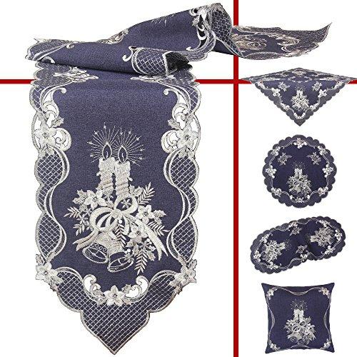 Quinnyshop Kersttafelkleed, tafelloper, middenkleed, kussensloop, geborduurd met zilveren kaarsen en klokken, polyester, donkerblauw