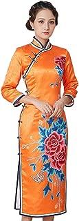 HangErFeng Qipao Autumn and Winter Women Silk Chinese Printed Addition Cotton Cheongsam Wedding Evening Dress